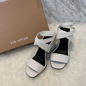 Via Spiga White Ankle Wrap Strappy Heels Sandals